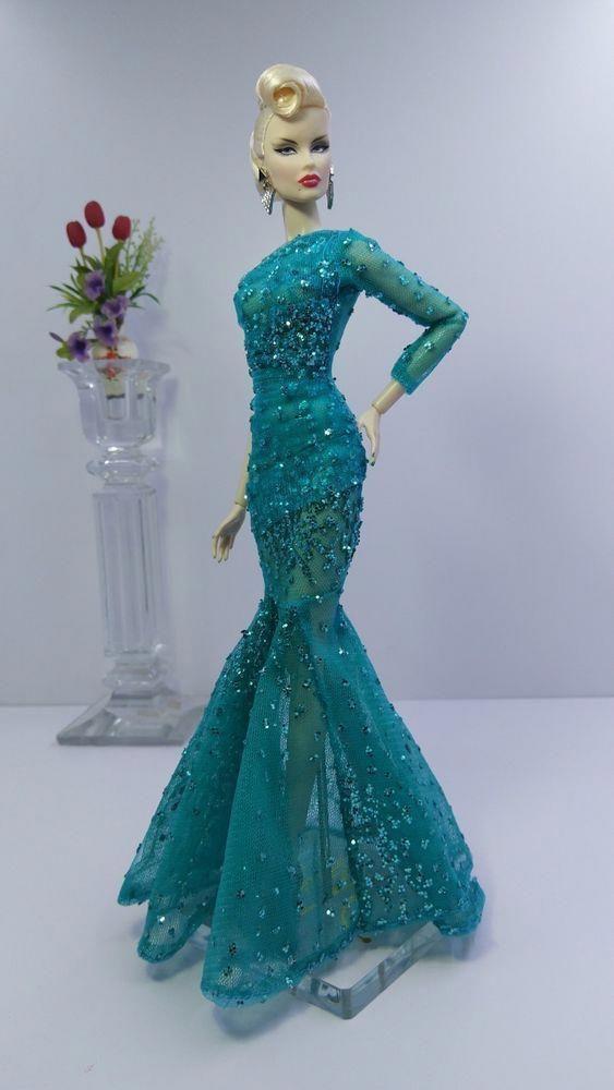 Eaki Handmade Peach Evening Dress Gown Outfit For Silkstone Fashion Royalty FR