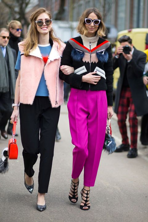 Fashion Week Street Style. Chiara Ferragni and Fendi jacket friend at Milan Fashion Week Fall 2015 #MFW: