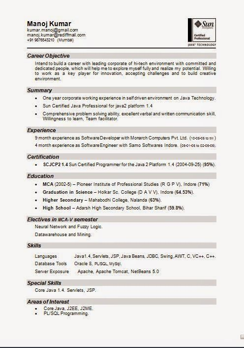 great resume designs Download Free Excellent CV \/ Resume - j2ee fresher resume