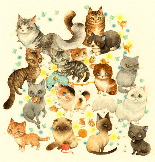 Such a fabulously cute kitty print! I want to get this ever-so-badly to hang on the wall near Stella's kitty condo :))) #cats #prints #art #posters #kitties #cute #adorable #artwork