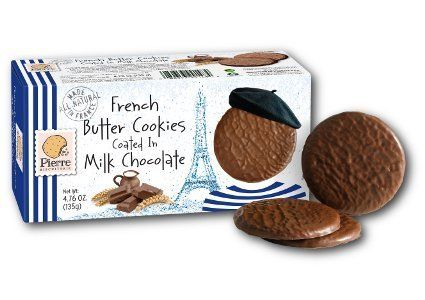 Pierre Biscuiterie French Butter Cookies Coated in Milk Chocolate 4.76 Oz. Box (Pack of 2) by Pierre Biscuiterie
