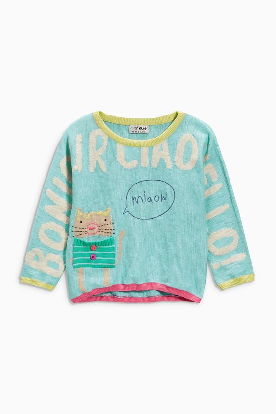 Buy Turquoise Cat Jumper (3mths-6yrs) from the Next UK online shop