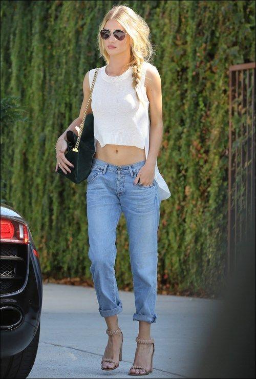 Rosie Huntington-Whiteley wearing boyfriend jeans and crop top