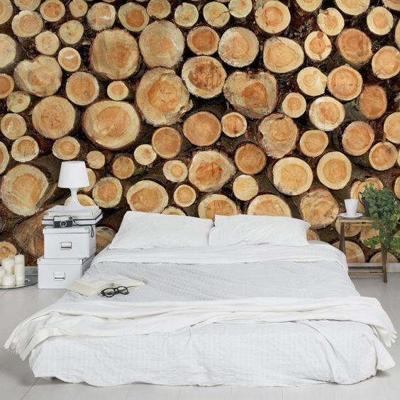 Vliestapete - Fototapete Holz No.YK18 Baumstämme - Fototapete ...