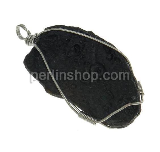 Edelstein Anhänger Schmuck, Meteorstein, natürlich, gemischt, schwarz, 23-31mm, Bohrung:ca. 5mm