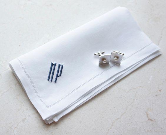 Christmas Stocking Stuffer Gift Idea for Men - Men's Monogrammed Linen Handkerchief