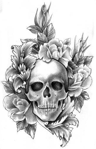 pencil drawing skull roses and baroque filigree tattoo