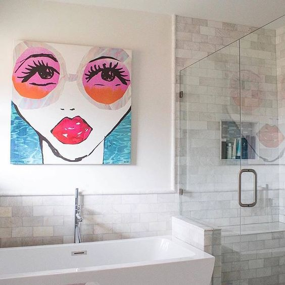 Brighten up your bathroom with a colorful print painting and all the right accents, we're getting some @liketoknow.it.home inspiration a la @thefashionbrief's squeaky clean setup | Get ready-to-shop #LTKhome details with www.LIKEtoKNOW.it | http://liketk.it/2q2UQ #liketkit