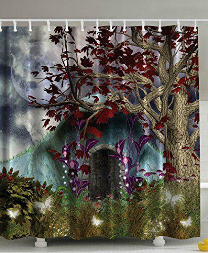 Mystical Magical Tree Anime Moon Fabric Shower Curtain Digital Art ...