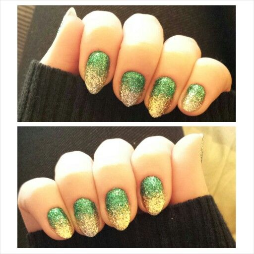 Green to gold and green to silver glitter gradient nails