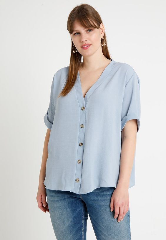 New Look Curves AIRFLOW CONTRAST BUTTON - Blouse - pale blue - ZALANDO.FR