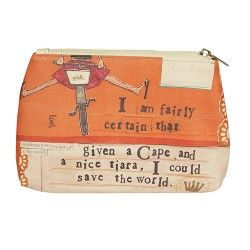 Curly Girl Cosmetic Bag.  I am fairly certain that given a cape and a nice tiara, I could save the world.  Layered collages of colourful retro prints and textured papers are perfectly coupled with both hand printed and carefully cut text creating a contemporary range with nostalgic feel.