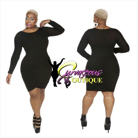 BLACK OVERLAPPING SWEATER DRESS   ( MODEL WEARING 1X )   RECOMMEND GOING UP 1 SIZE   SIZE :  1X  2X  3X    COLORS :  GRAY  MUSTARD  BLACK    WWW.CURVACEOUSBOUTIQUE.COM & IN STORE    { { VISIT THE WEBSITE FOR ALL DETAILS & PRICE } }