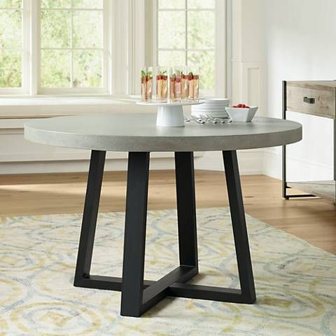 Cyrus 47 1 4 W Gray Lava Stone And Iron Round Dining Table