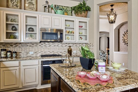 Gehan homes kitchen country chick glass cabinets white cabinets