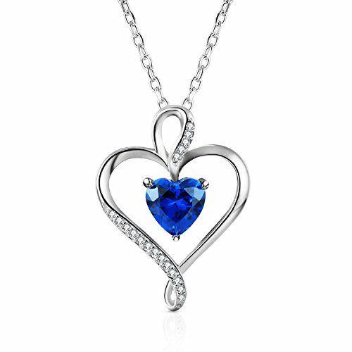Sapphire NecklaceSapphire PendantHeart NecklaceHeart Pendant14k Gold Sapphire necklaceWhite Gold NecklaceRose Gold Necklace