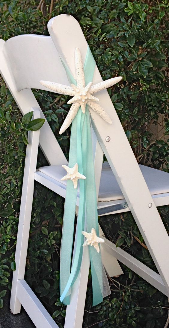 Beach Wedding Starfish Chair Decoration with 4 Natural Starfish and 4 Ribbons - 23 Ribbon Colors available