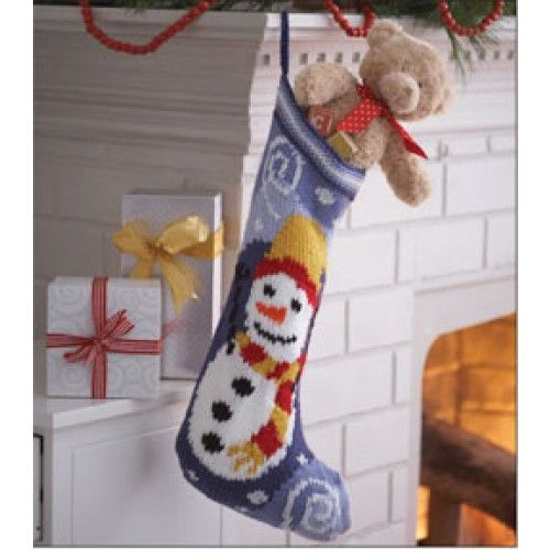 Free Snowman Stocking Knit Pattern Knitting Patterns Pinterest Stocking...