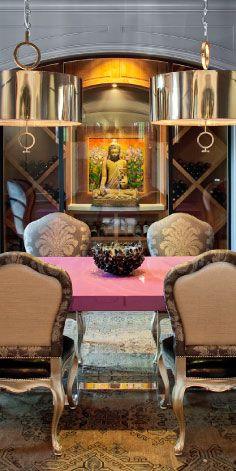 Buddha sculpture and  wine storage
