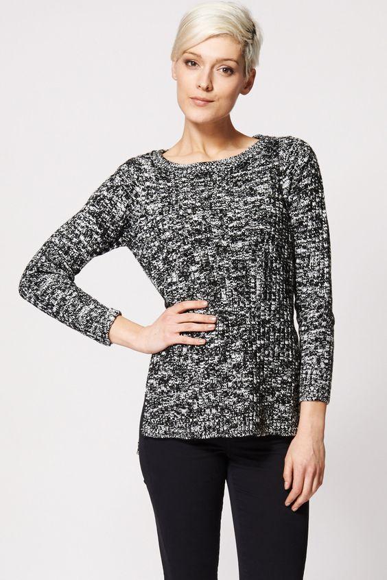 Monochrome Hi Low Split Knitted Sweater