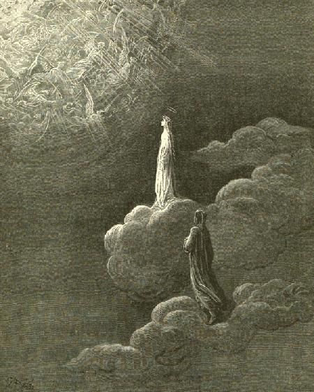 Illustration on Paradiso: Dante and Beatrice ascend to the sphere of Mars, 1868.