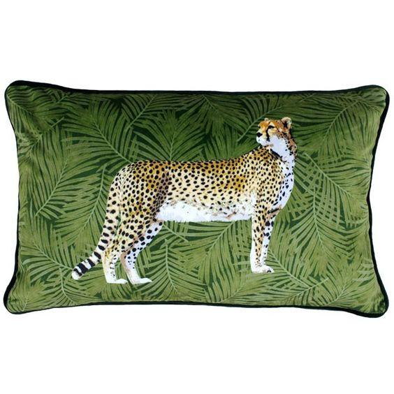 Riva Paoletti Cheetah Forest Faux Velvet Cushion Cover Green 30 X 50 Cm Green Cushions Velvet Cushions Luxury Cushions