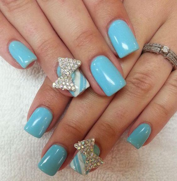 baby blue nails nails