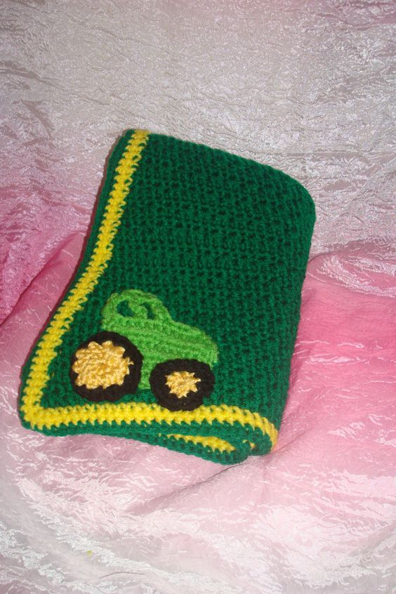 Crochet Pattern For John Deere Afghan : John Deere Theme Baby Blanket for your nursery. Even has a ...