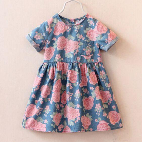 2016 haute robe de mode de vente chaude bébé fille mignonne denim robes enfants vêtements décontractés été à manches courtes impression enfant robes