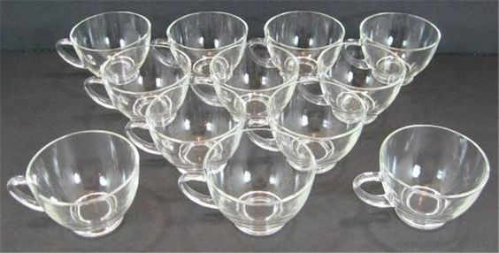 Set of 12 1950s Anchor Hocking Fire King Crystal Clear Punch Cups EUC #AnchorHocking