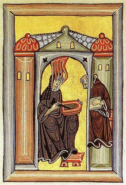 Saint Hildegard von Bingen receiving the Holy Spirit to compose music. Illuminated manuscript.