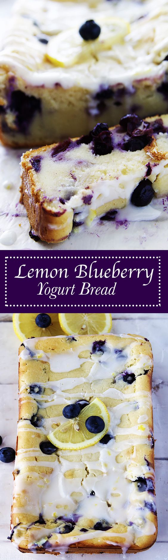 Lemon Blueberry Yogurt Bread Recipe via Fitness Food Diva - Bursting with blueberries, flavored just perfectly with lemon zest, and topped off with a lite lemon glaze, this is amazing for Summer. #dessertbreads #neighborgifts #homemadegifts #foodgifts #breadrecipes #flavoredbreads #sweetbreads #holidaybread #bread #homemadebread #simplebreadrecipes #simplebread #simplerecipes