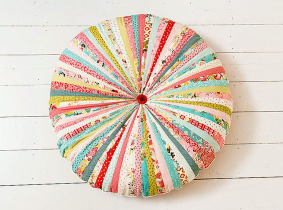 Large Whimsical Floor Cushion, Pouffe, Pillow. Moda Fabric and Cord with Giant Buttons