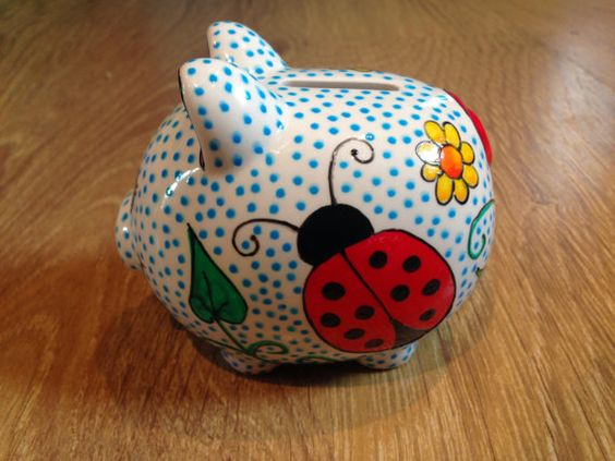 Ladybird Piggy Bank Personalised by ArtyGifts on Etsy