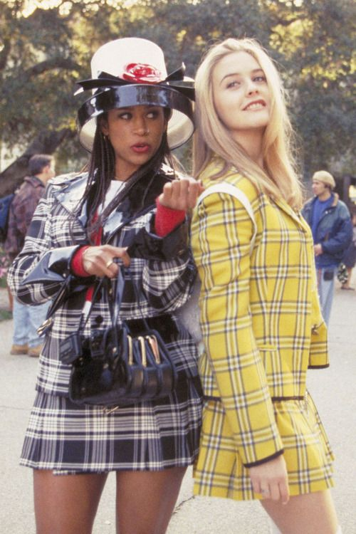 Stacey Dash as Dionne and Alicia Silverstone as Cher in Clueless, 1995, adapted from Jane Austen's Emma.