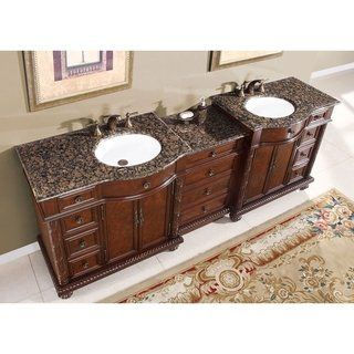 Silkroad Exclusive English Chestnut 90 Inch Stone Top Double Sink