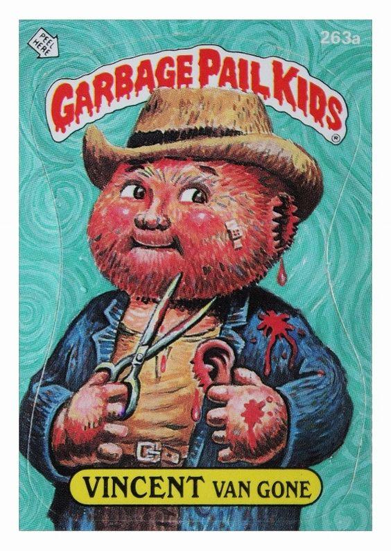 Vincent Van Gone Original Artwork By John Pound For Gpk Parody Of Self Portrait Oil Painting By Vincent Van Garbage Pail Kids Cards Garbage Pail Kids Pail