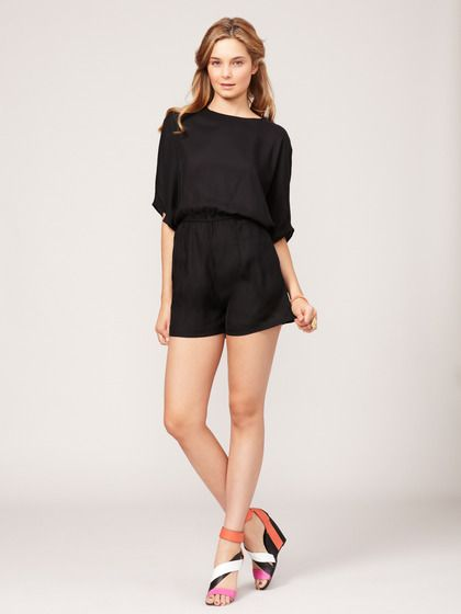 Woven Open Back Lindsay Romper by Karen Zambos Vintage Couture on Gilt...simple & chic (i covet the shoes as well!)