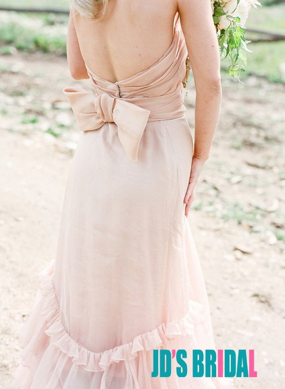 JOL234 romance blush colored boho chiffon wedding dress gown