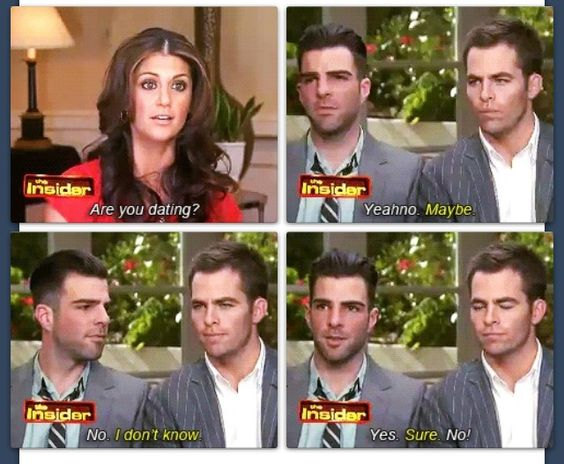 chris pine zachary quinto dating Chris pine is currently dating annabelle wallis view relationship brought to you by chris pine dating history chris pine and sofia boutella.