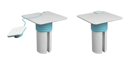 Rocchetto, designed by Filippo Protasoni, is a side table with power underneath.