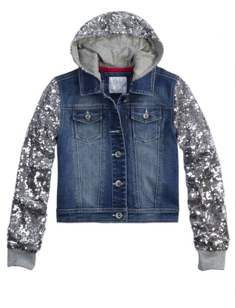 Sequin Sleeve Denim Jacket | Girls Outerwear Clearance | Shop ...