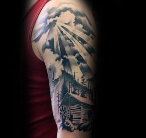 40 Log Cabin Tattoo Designs Fur Manner Wohnung Tinte Ideen Cabin Designs Ideen Manner Tattoo Tinte W Shoulder Tattoo Cloud Tattoo Fake Tattoo Sleeves
