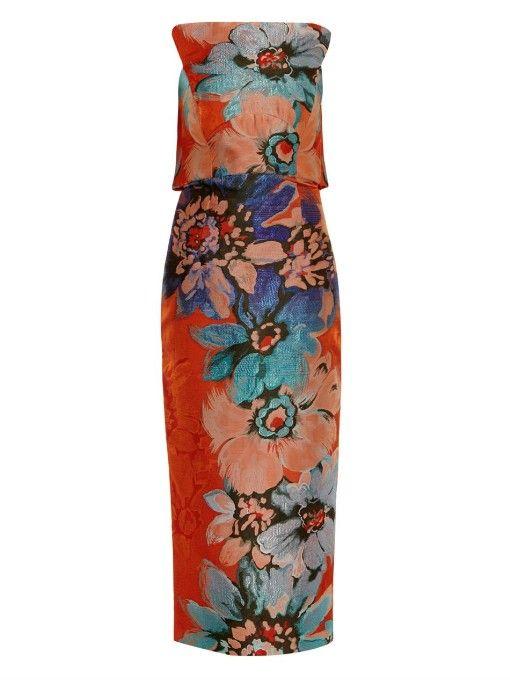 Antonio Berardi Floral-jacquard bandeau dress