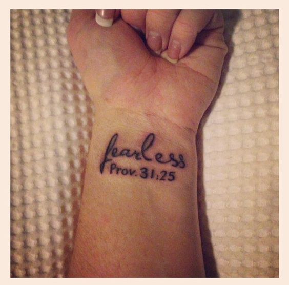 Fearless Tattoo Proverbs 31:25 Faith Tattoo By Bassett at Raw Ink, Kangaroo Flat, Victoria, Australia.