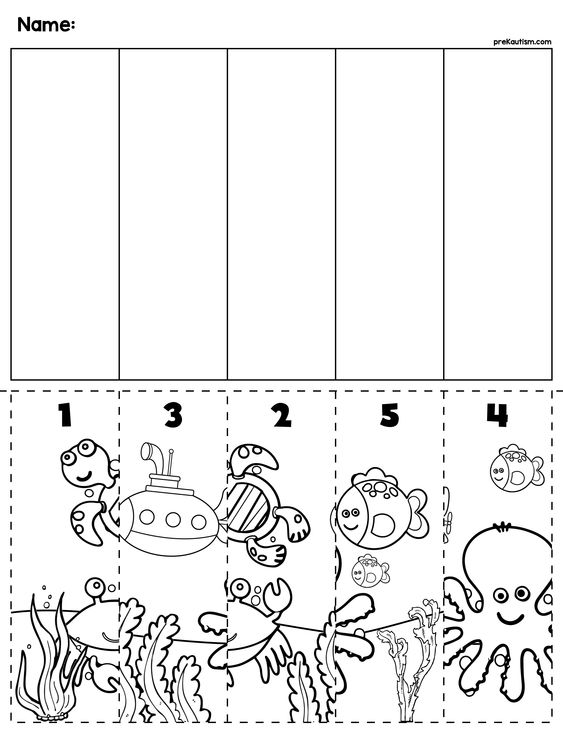 $1 | Under the Sea scene cut and order for numbers 1-5. Package includes five no prep worksheets. #preschool #preschoolers #preschoolactivities #kindergarten #Homeschooling #mathcenters #ocean