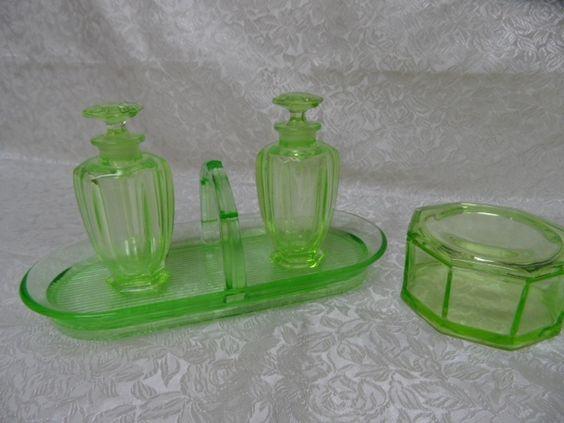 Uranium Glass Perfume Powder Dresser Vanity Set