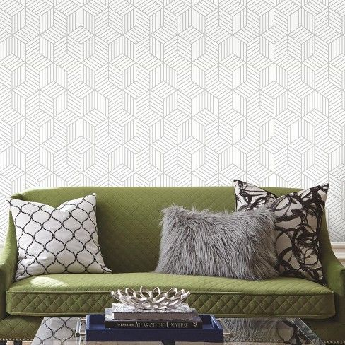Roommates Stripped Hexagon Peel Stick Wallpaper White Gray Decorating On A Budget Peel And Stick Wallpaper Home Decor