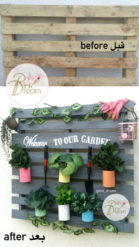 اعادة تدوير قبل وبعد Recycle Recycling Before After Garden Wood Table Bottle Cap Crafts Decor Flower Garden