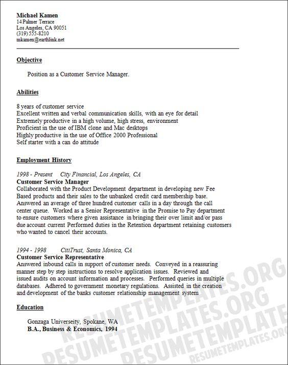Senior Customer Service Resume (resumecompanion) Resume - objectives for customer service resume